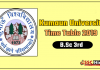 Kumaun University B.Sc 3 Year Time Table 2019