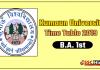 Kumaun University BA 1 Year Time Table 2019
