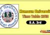 Kumaun University BA 3 Year Time Table 2019