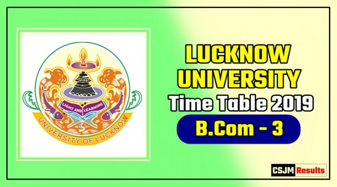 Lucknow University Bcom 3 Year Time Table 2019