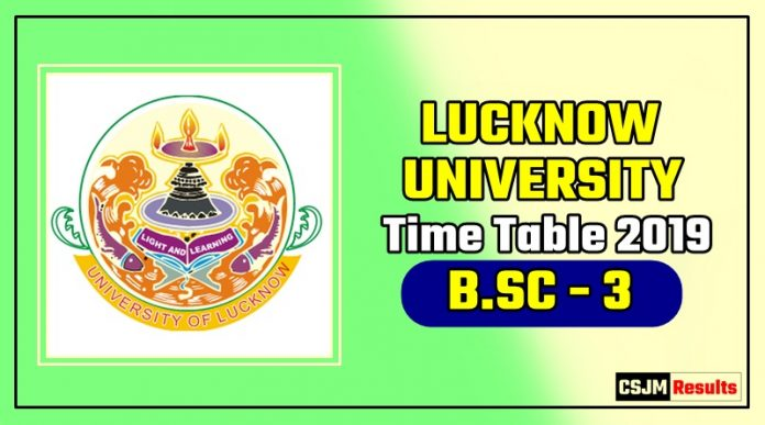 Lucknow University Bsc 3 Year Time Table 2019