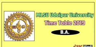 MLSU Udaipur University B.A. 1st 2nd 3rd Time Table 2019