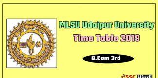 MLSU Udaipur University B.Com 3rd Time Table 2019