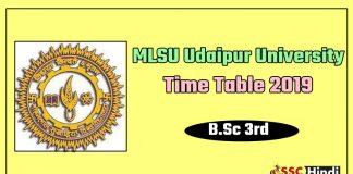 MLSU Udaipur University B.Sc 3rd Time Table 2019