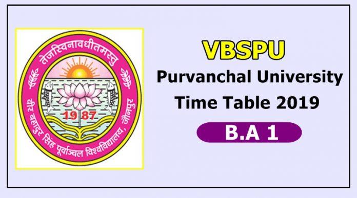 Purvanchal University [VBSPU] B.A 1 Time Table 2019