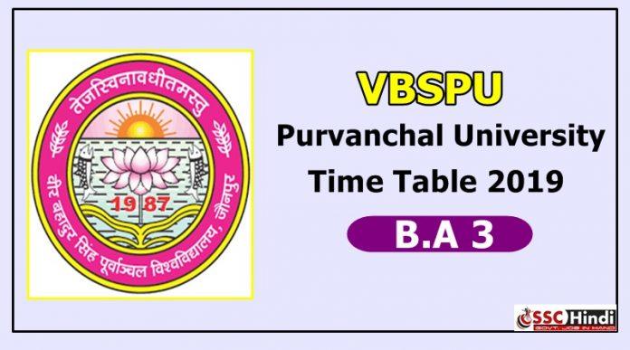 Purvanchal University [VBSPU] B.A 3 Time Table 2019
