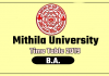 Mithila University LNMU BA 1st 2nd 3rd Year Time Table 2019
