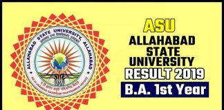 ASU BA 1st Year Result 2019 Allahabad State University
