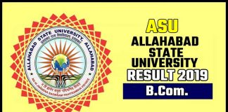 ASU BCom 1st 2nd 3rd Year Result 2019 Allahabad State University