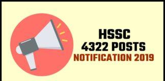 HSSC 4322 Posts Notification 2019