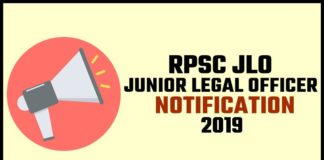 RPSC JLO Notification 2019
