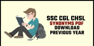 SSC Synonyms Question Pdf Download For SSC CGL & Competitive Exams