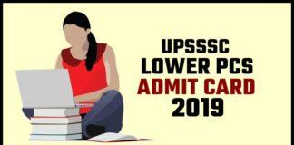 UPSSSC Lower PCS Admit Card 2019